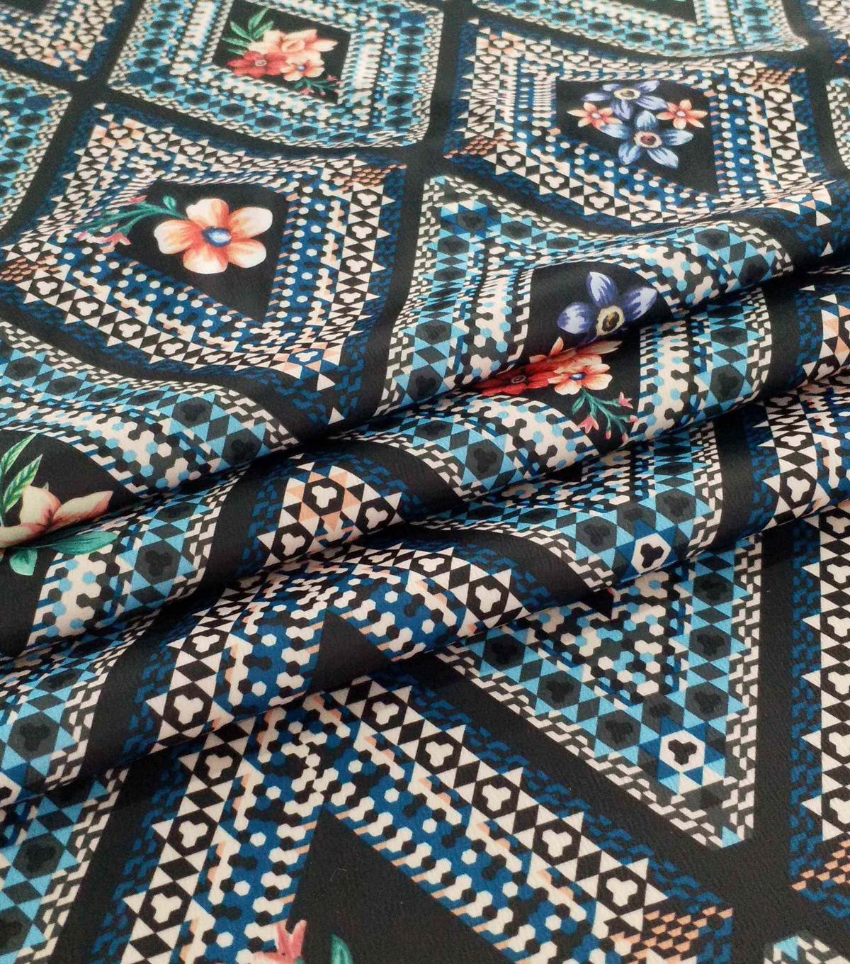 Silky Stretch Satin Textured Fabric-Diamond & Floral on Black