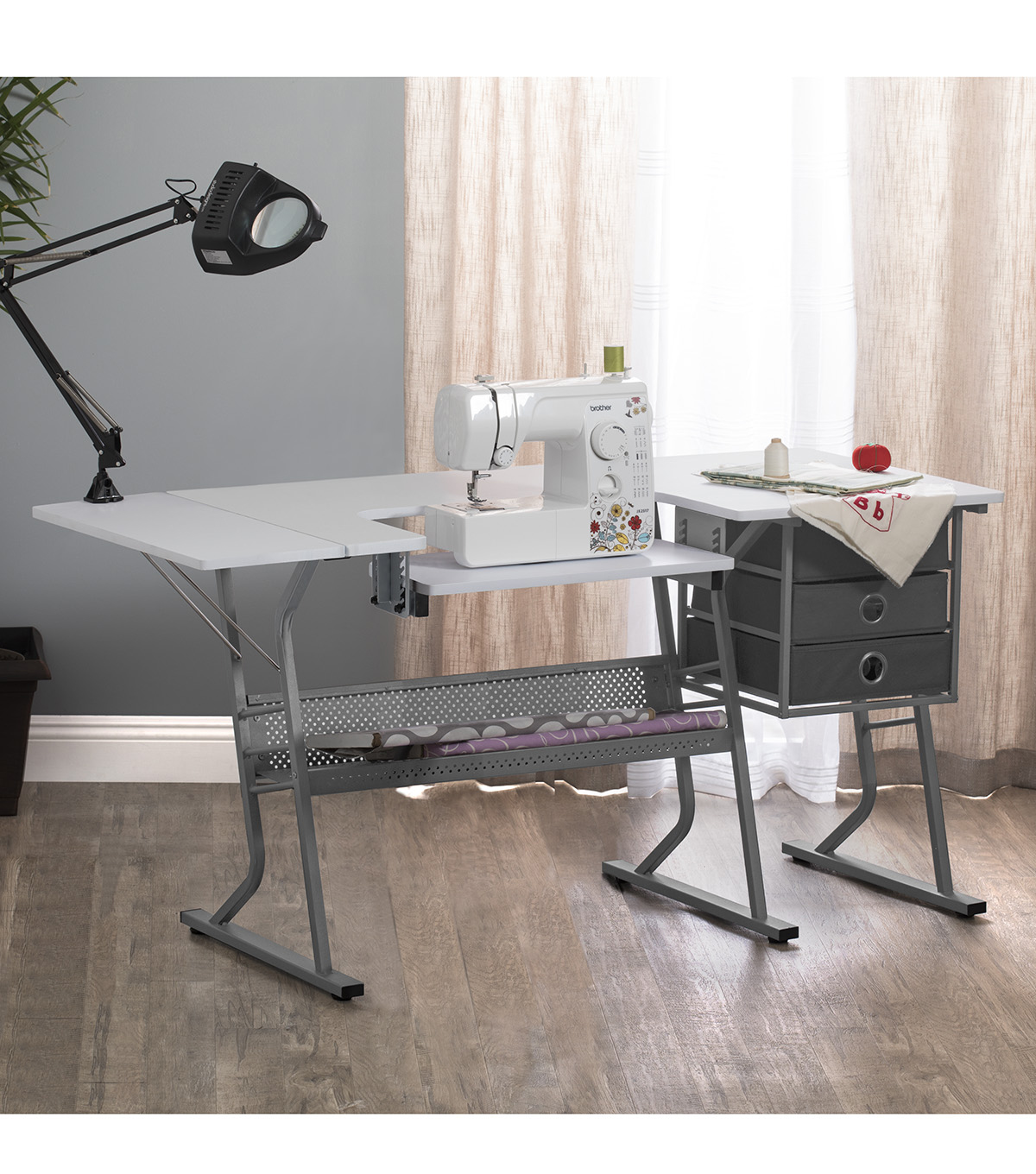 Studio Designs Eclipse Ultra Steel Sewing Machine Table-Gray & White