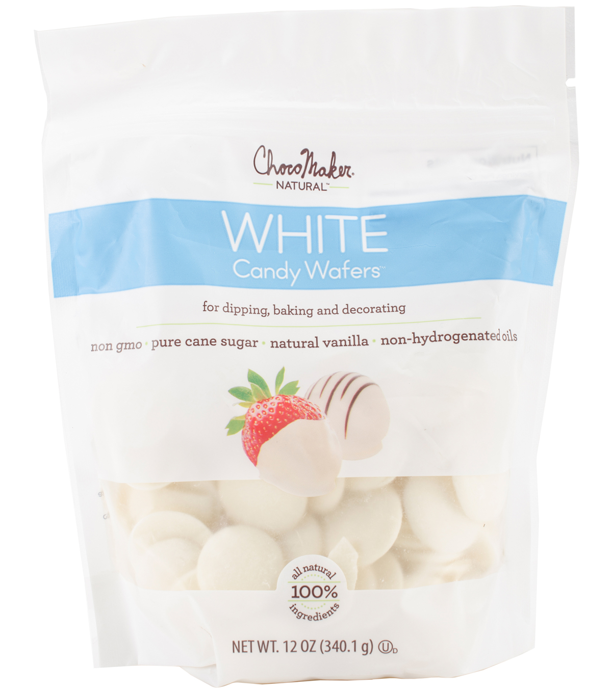 ChocoMaker Natural 12 oz. Vanilla Candy Wafers Pouch-White