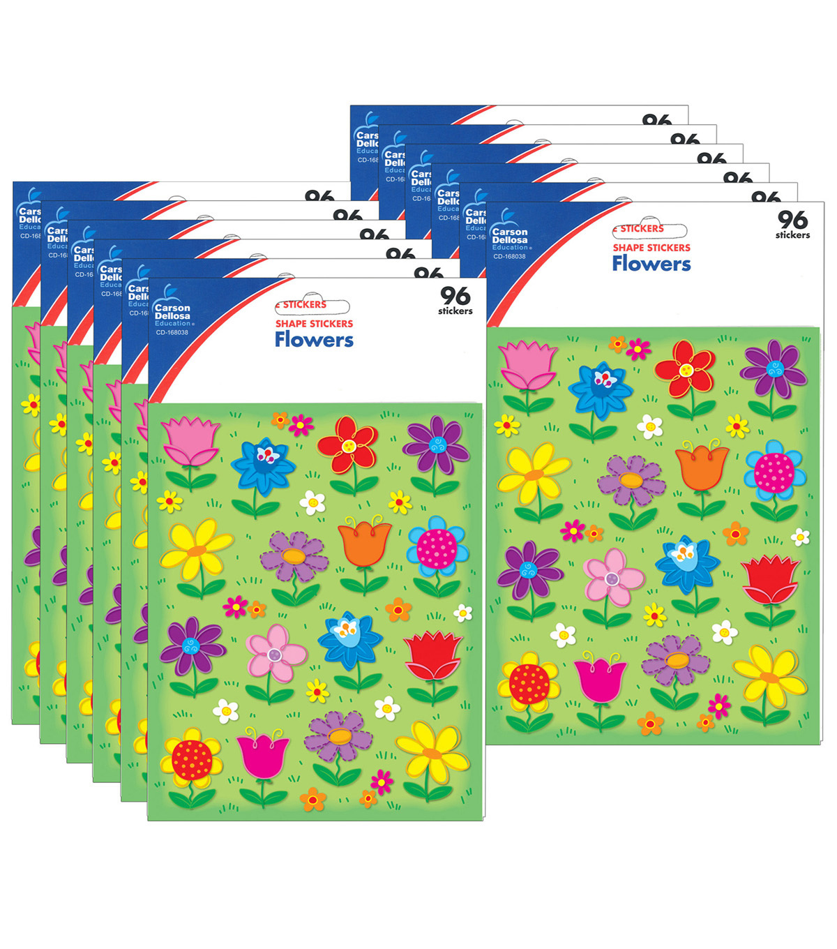 Carson Dellosa Flowers Shape Stickers 12 Packs