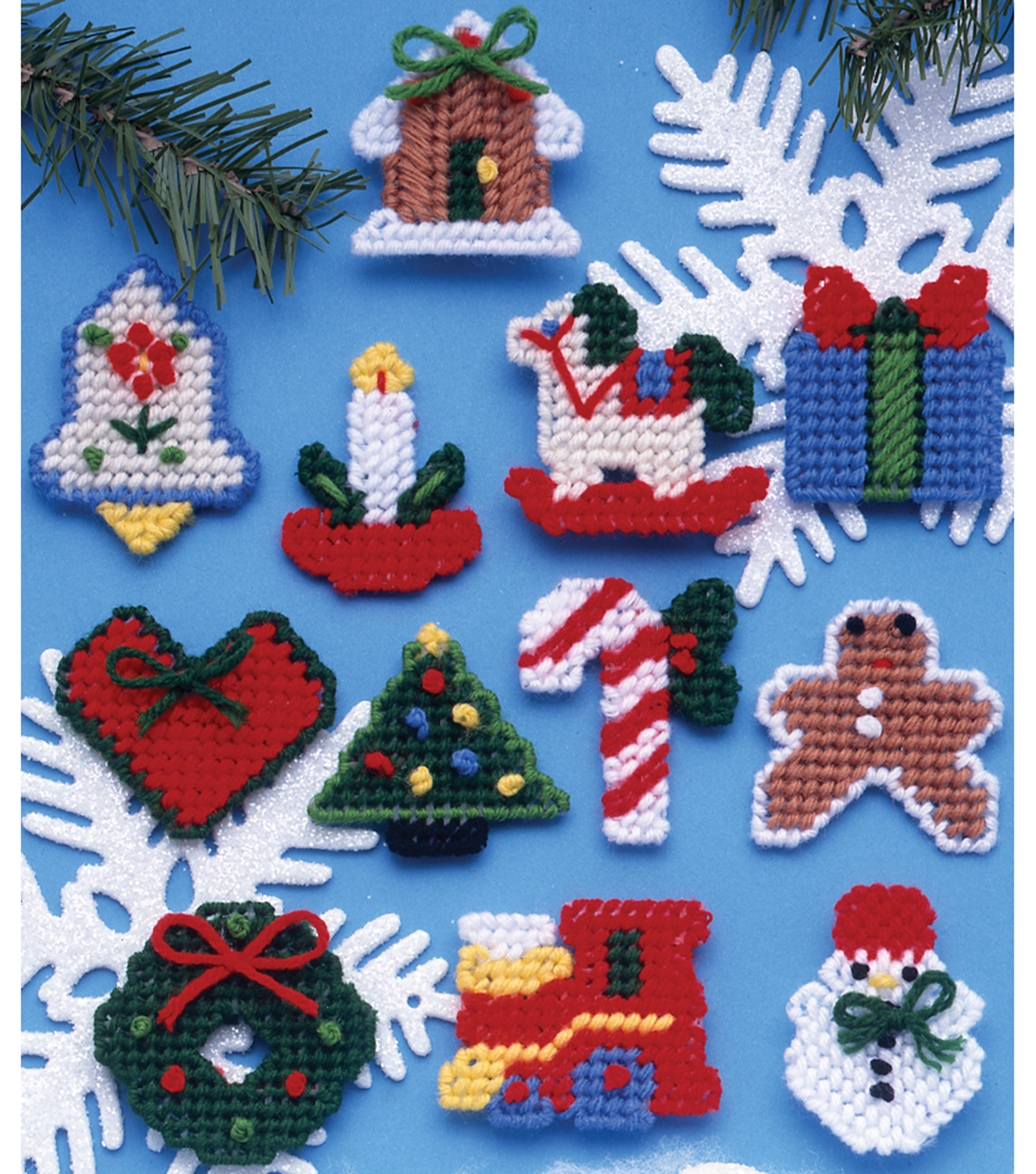 Country Christmas Ornaments Plastic Canvas Kit 2 7 Count Set Of 12
