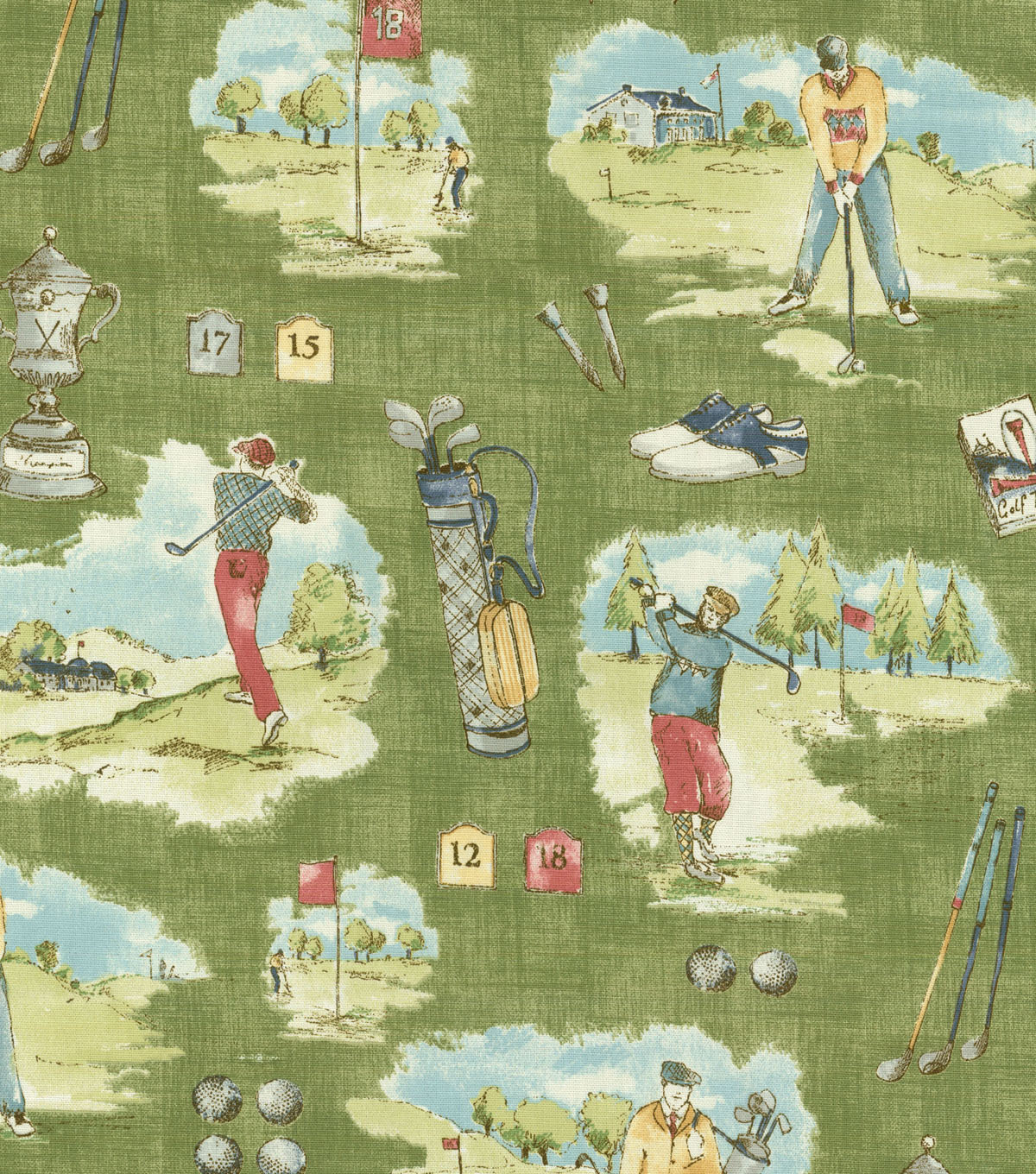 P/Kaufmann Multi-Purpose Decor Fabric-Hole In One Grass Green