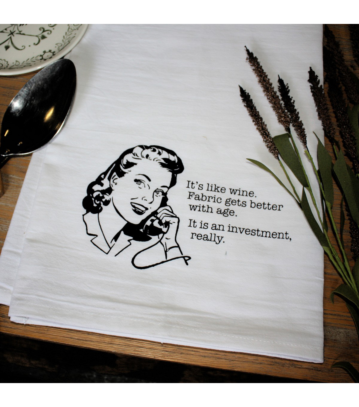 Aunt Martha\u0027s Dirty Laundry Flour Sack Tea Towel-It\u0027s Like Wine.
