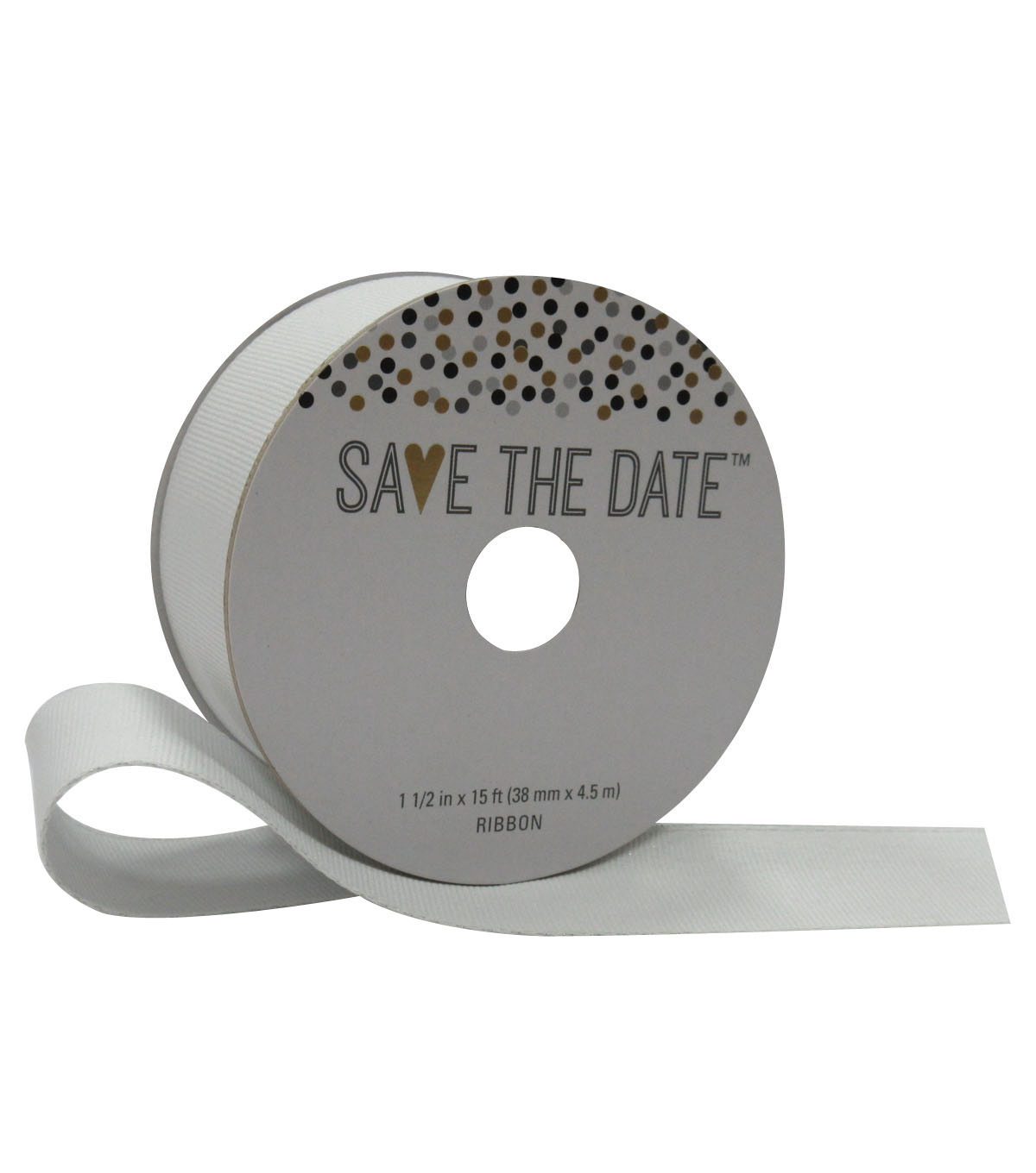 Save the Date 1.5\u0027\u0027 X 15\u0027 Ribbon-Metallic White Grosgrain