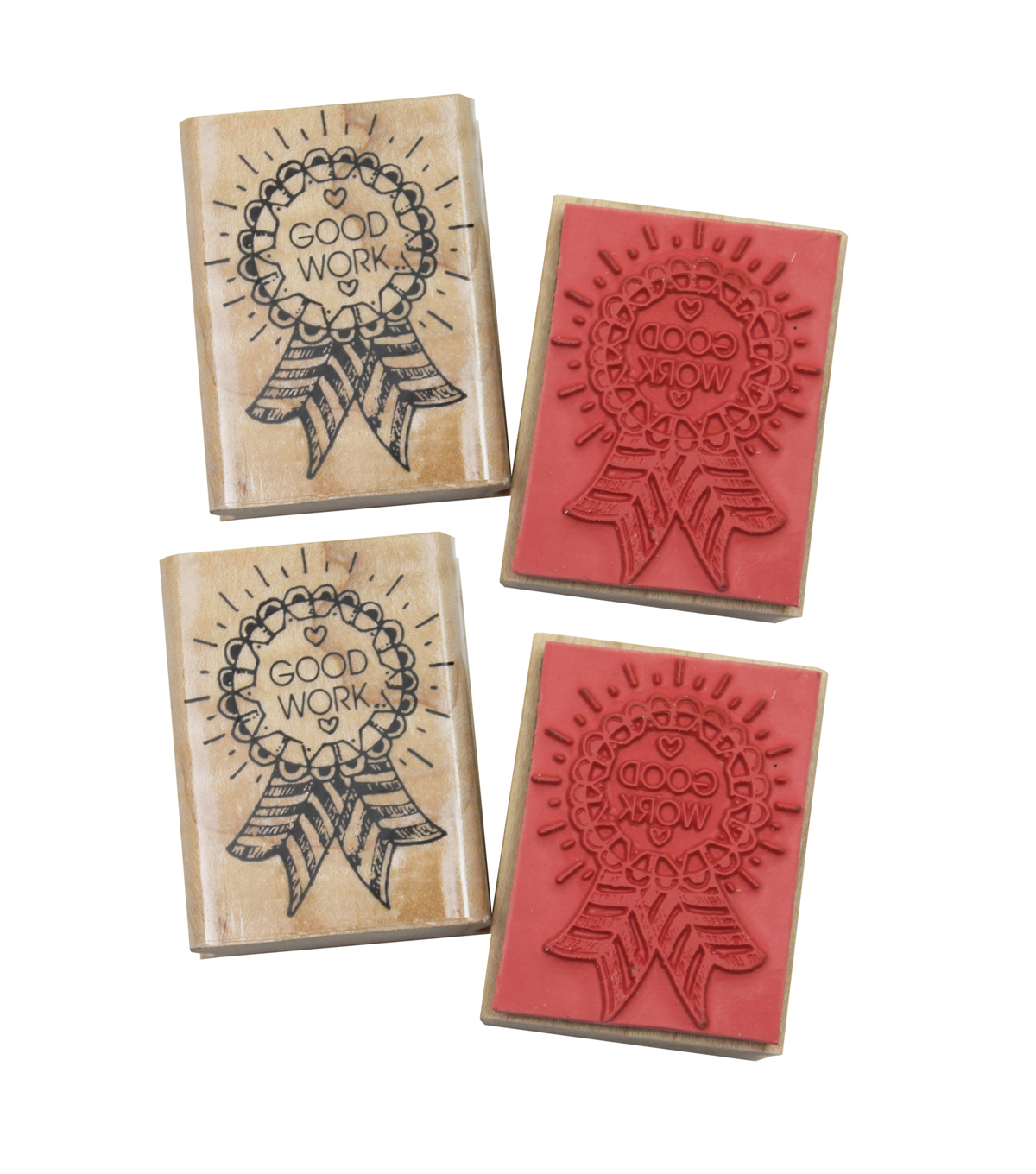 Good Work Award Rubber Stamp, Pack of 4