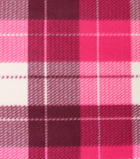 Blizzard Fleece Fabric -Wine Dakota Plaid