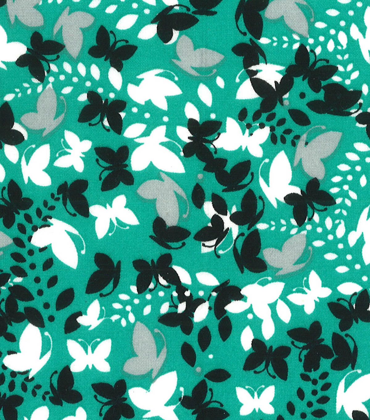 Quilter\u0027s Showcase Fabric -Black Butterfly on Pool Green