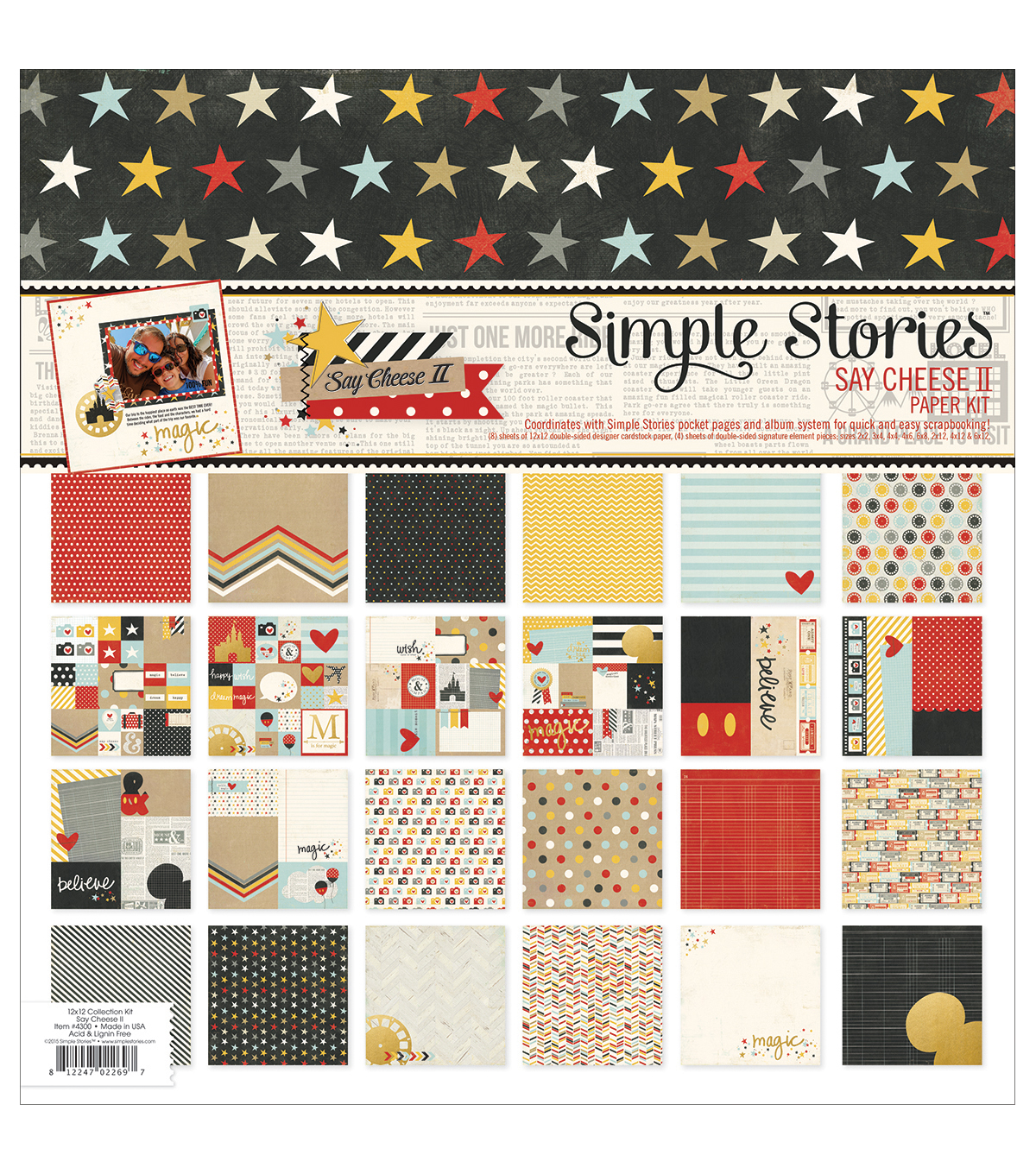 Simple Stories Double-Sided Paper Pack 12\u0022X12\u0022 12/Pkg-Say Cheese II