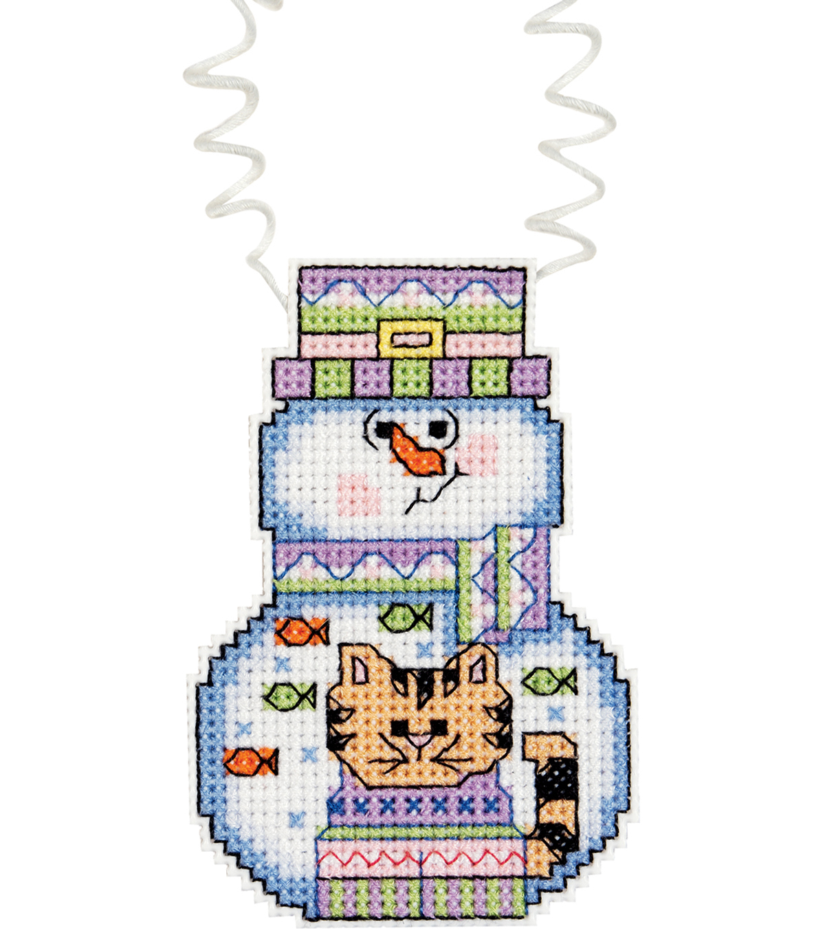 Janlynn Holiday Wizzers Snowman With Cat Counted Cross Stitch Kit