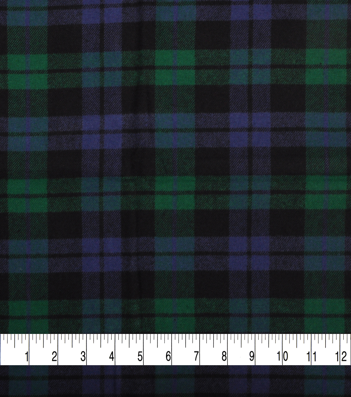 Plaiditudes Brushed Cotton Fabric-Green, Blue & Black Square Plaid