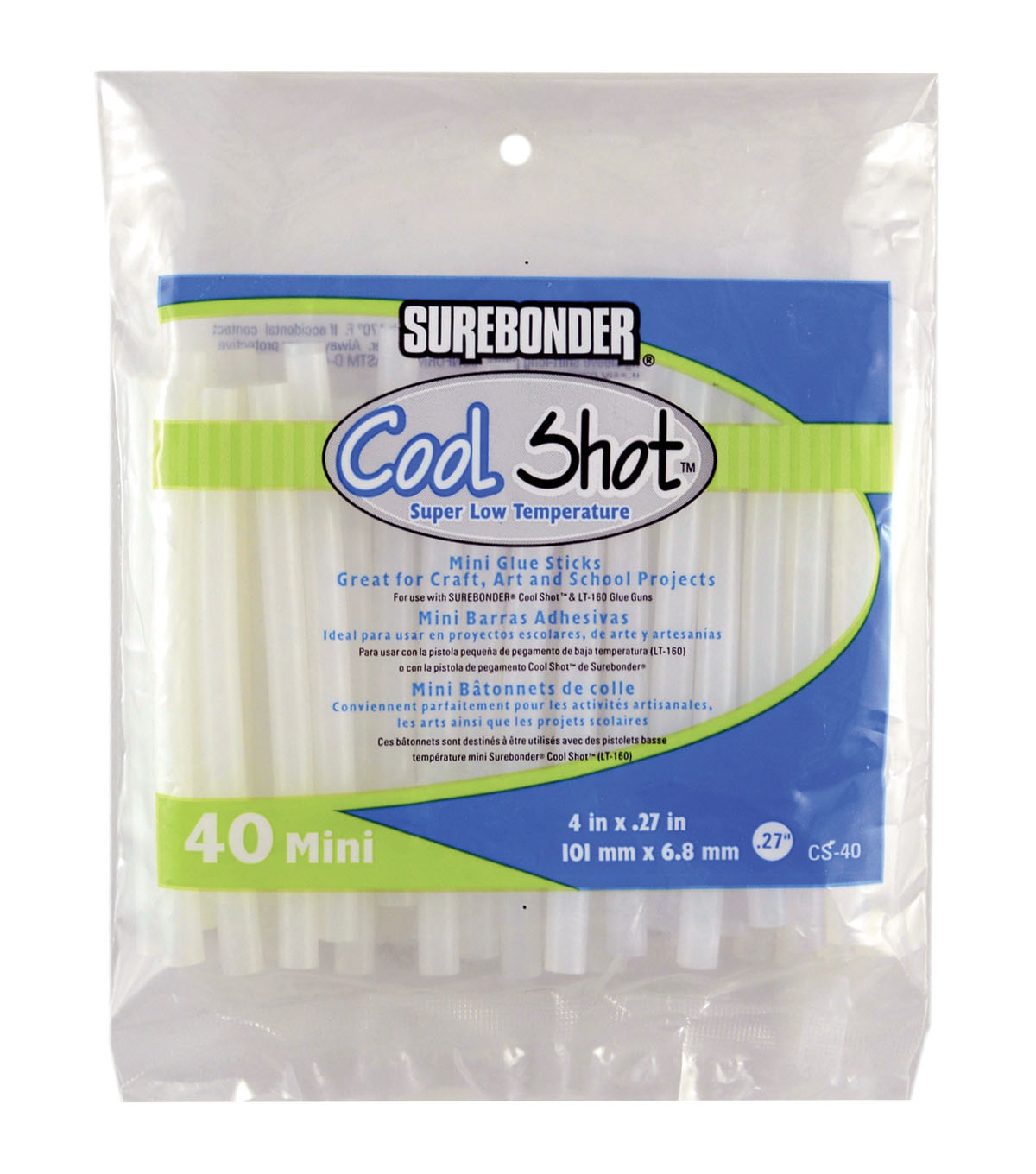 Surebonder Cool Shot 40 pk Super Low Temperature Mini Glue Sticks-Clear