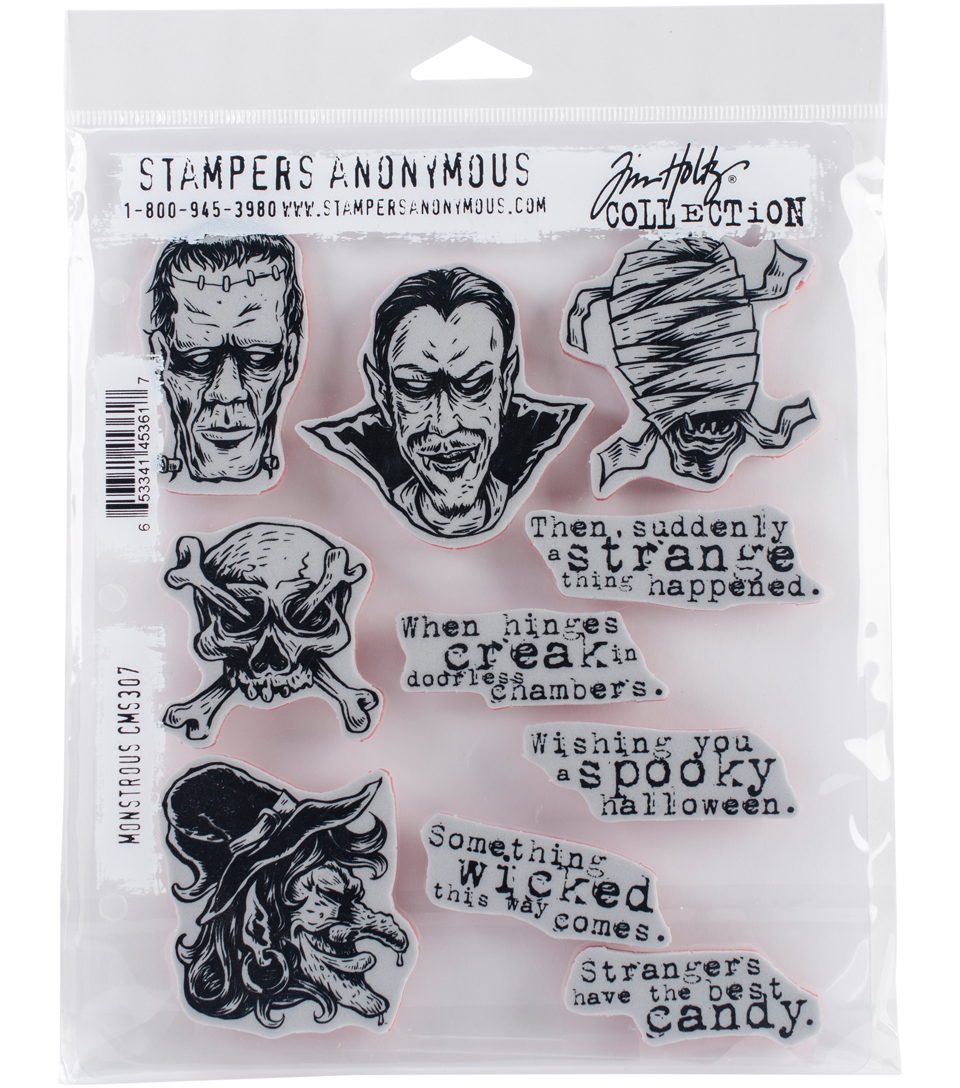 Stampers Anonymous Tim Holtz 10 pk Cling Stamps-Monstrous