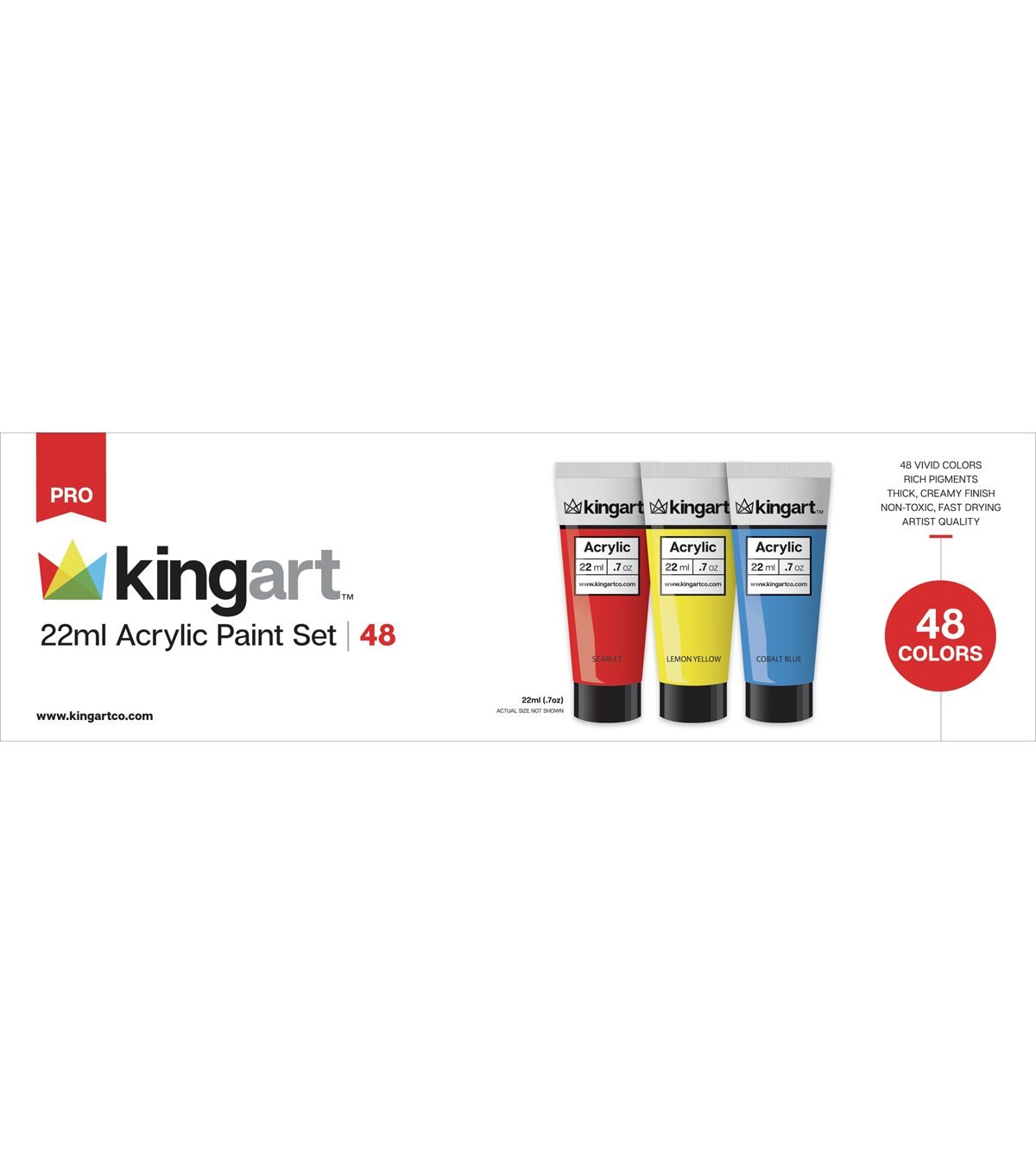 KINGART 22ml Paint Set 48/Pkg-Acrylic