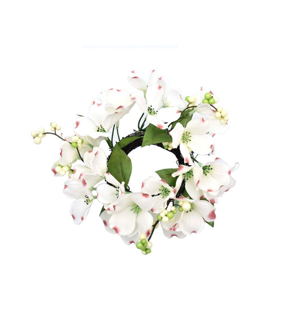 Fresh Picked Spring 9\'\' Berry, Leaves & Dogwood Floral Wreath-White ...