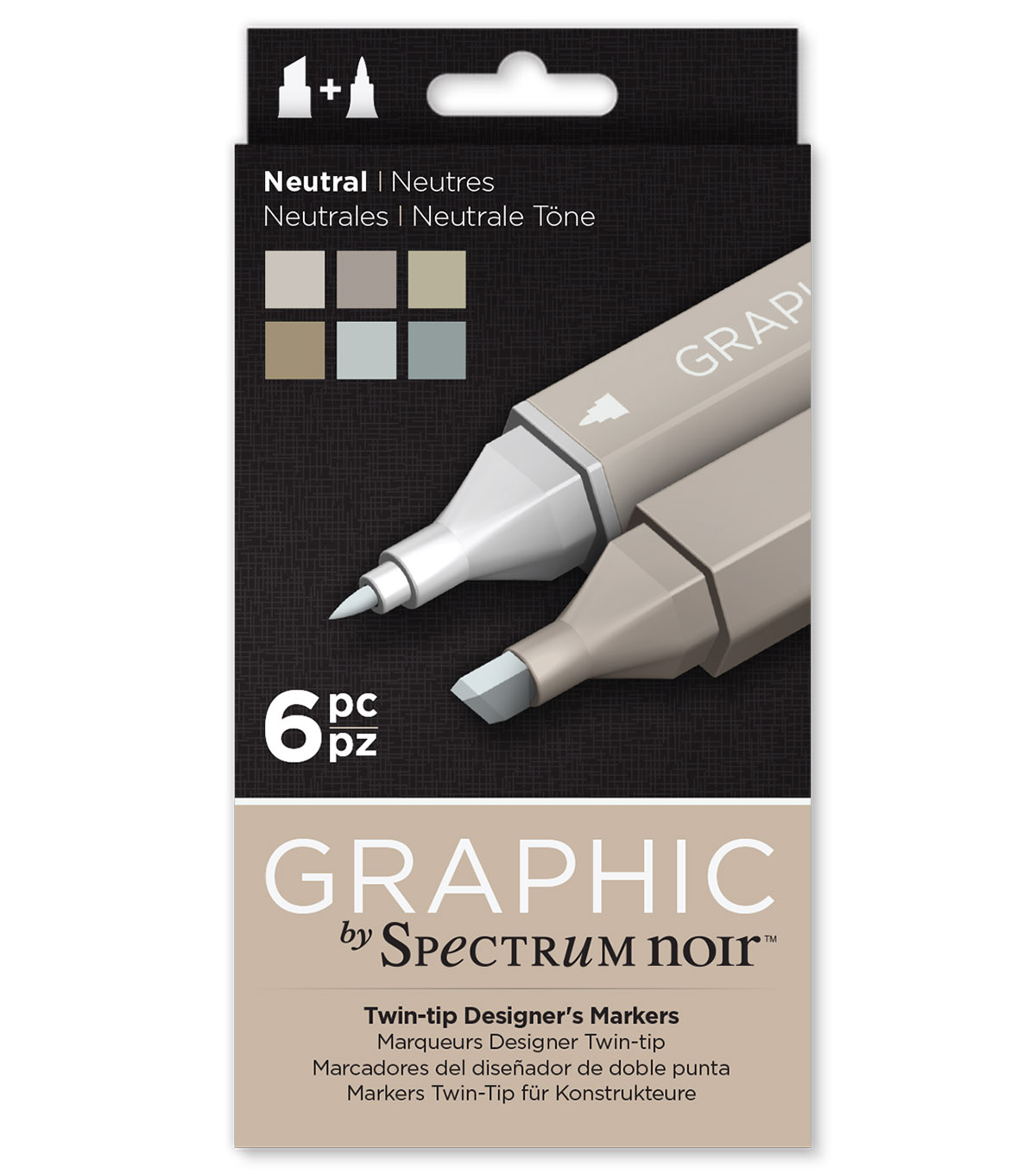 Graphic by Spectrum Noir 6 Piece Marker Set-Neutral