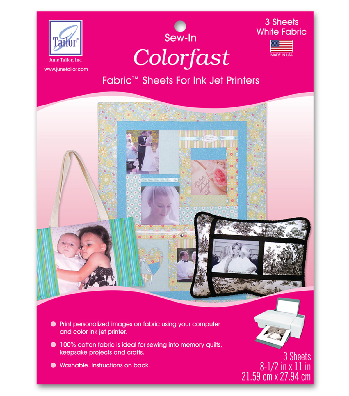photo about Printable Iron on Fabric named June Tailor Washable Colorfast Printer Cloth 3/Pkg