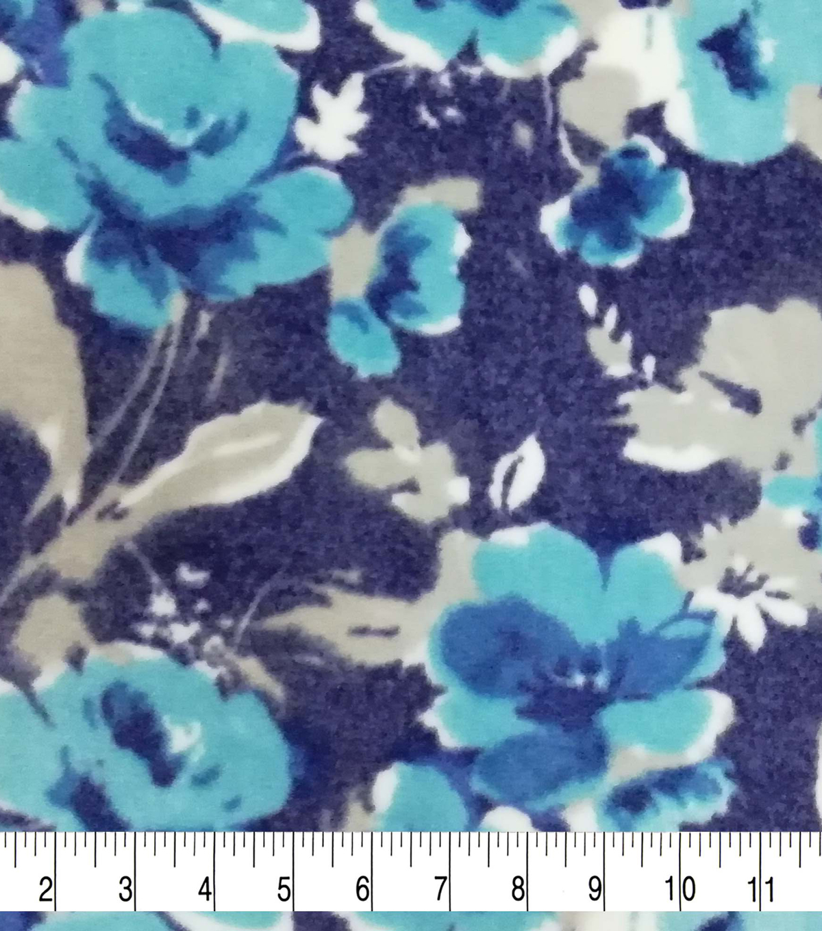 Luxe Fleece Fabric -Floral on Navy