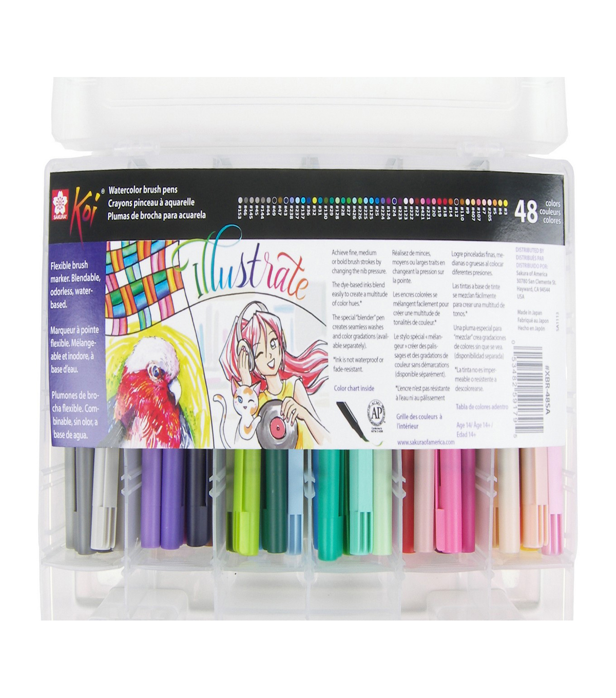 Koi 48 pk Coloring Brush Pens with Storage Case