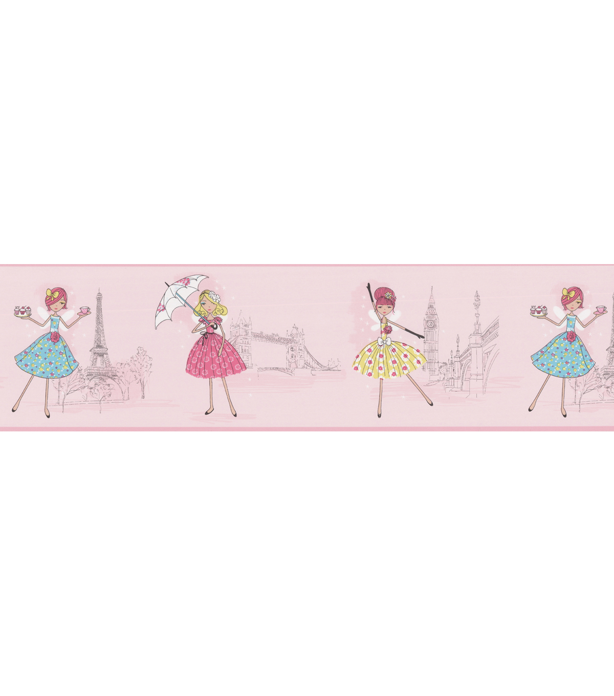 Fairy Tea Time Border Pink European Party Wallpaper Border Sample