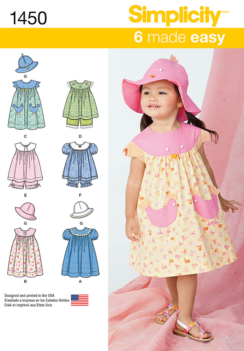 Simplicity Pattern 1450A 1/2-1-2-3--Toddlers Dresses