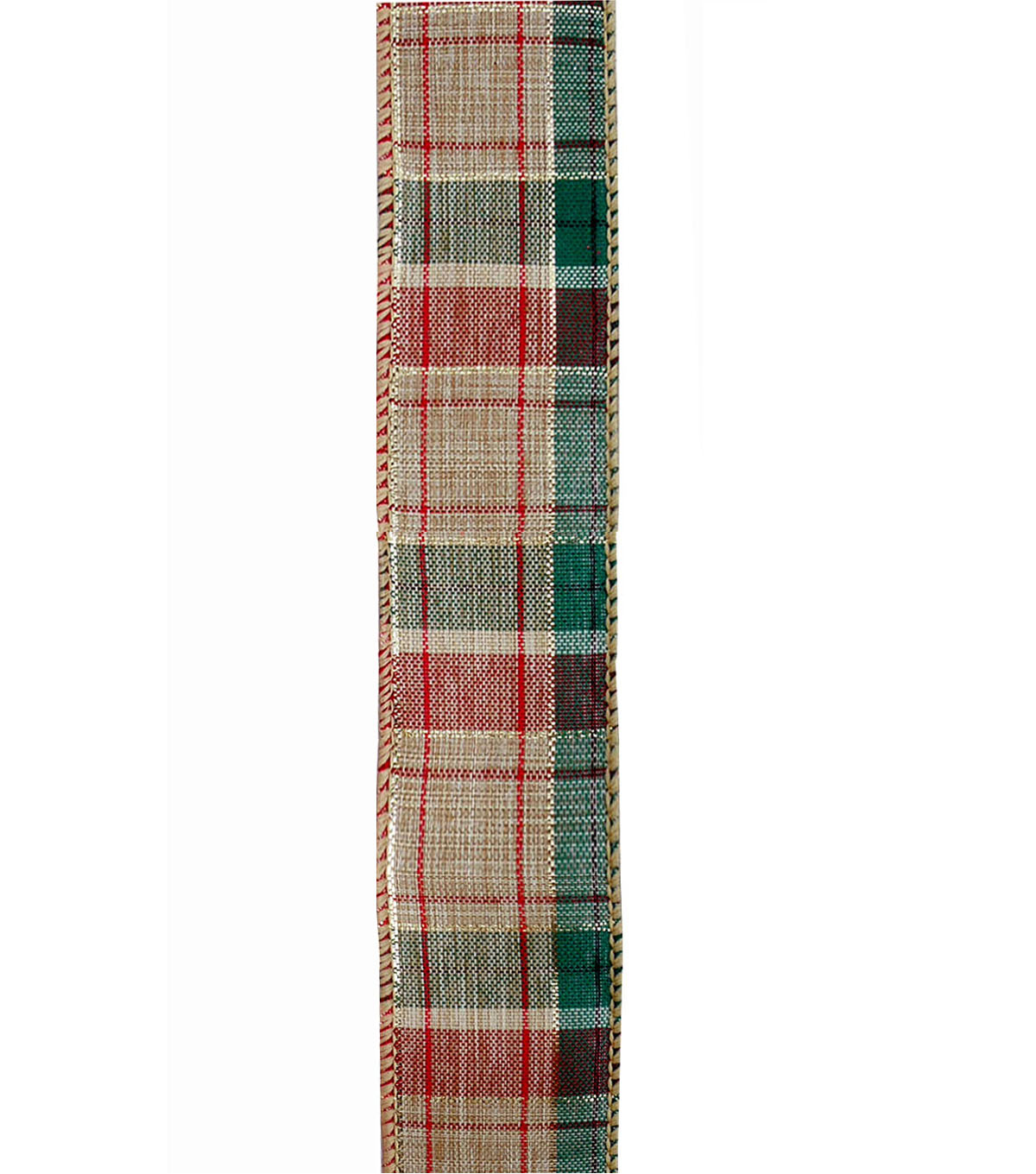 Maker\u0027s Holiday Ribbon 1.5\u0027\u0027x30\u0027-Red, Green, Ivory & Gold Plaid
