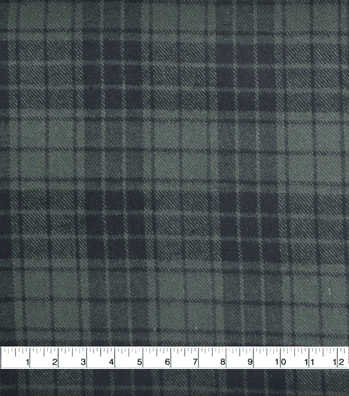 Cotton Shirting Fabric 42\u0027\u0027-Green & Black Plaid