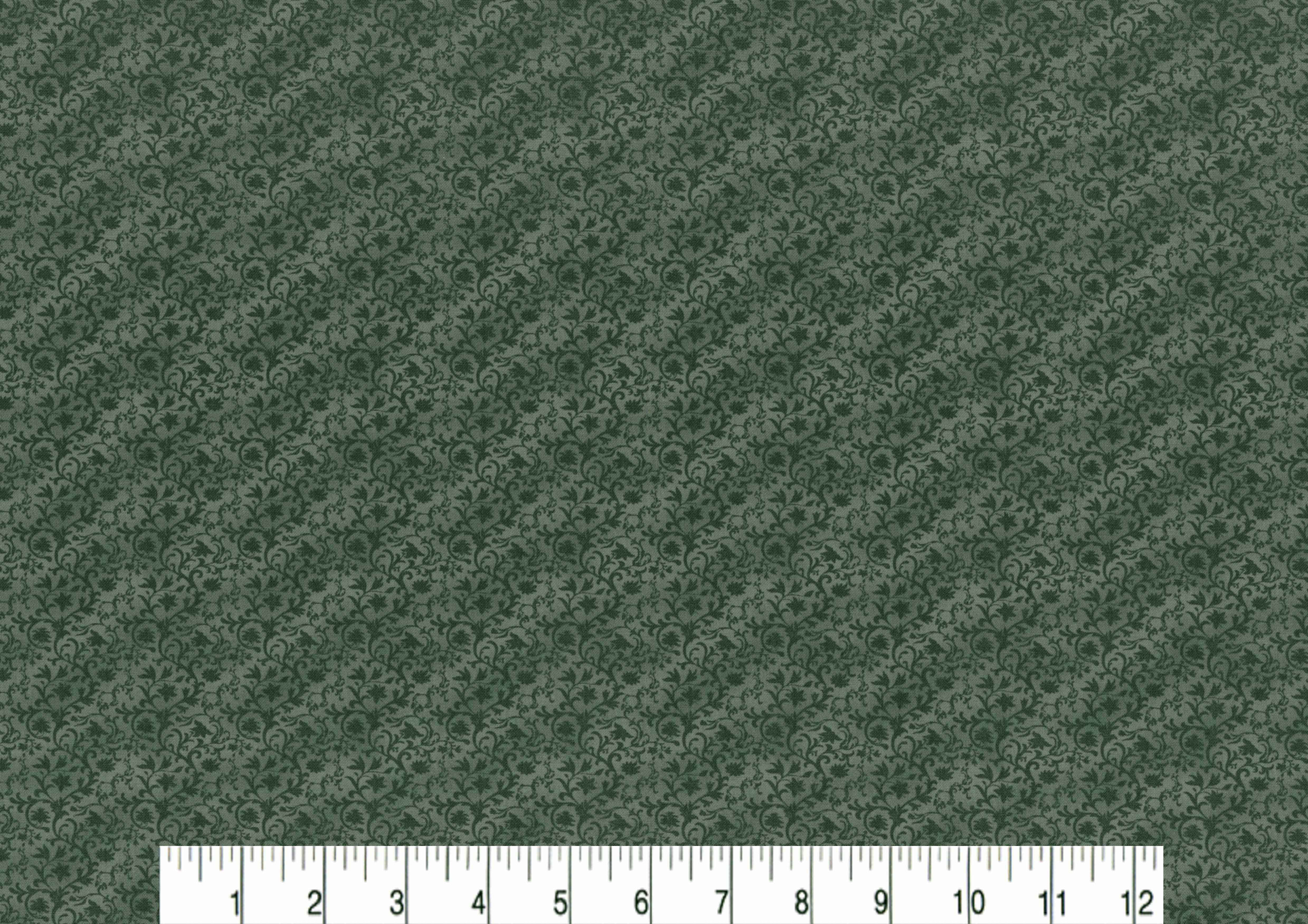 Vintage Cotton Fabric 43\u0027\u0027-Green Tonal Vines