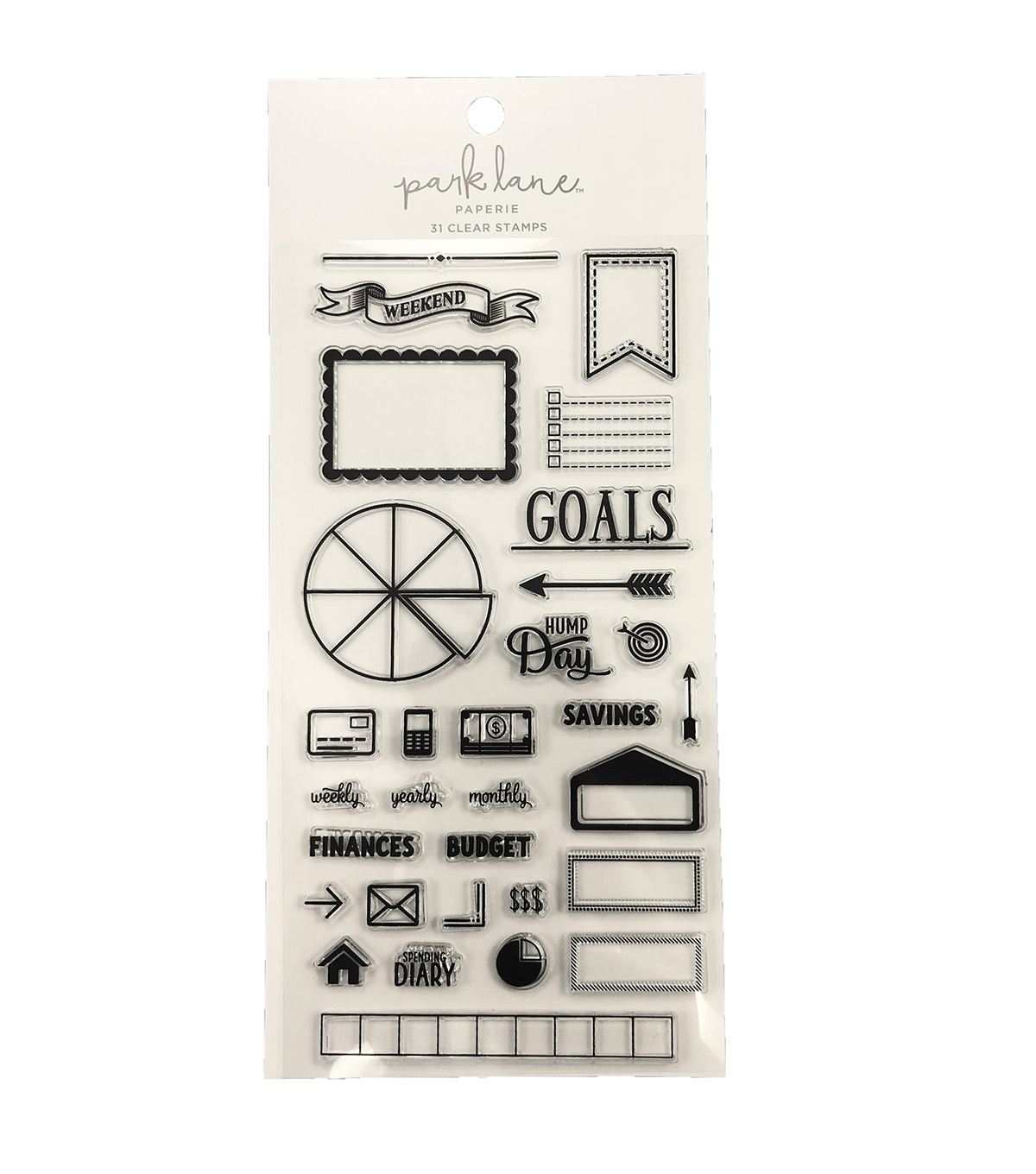 Park Lane Paperie 31 pk Clear Stamps-Spending Diary