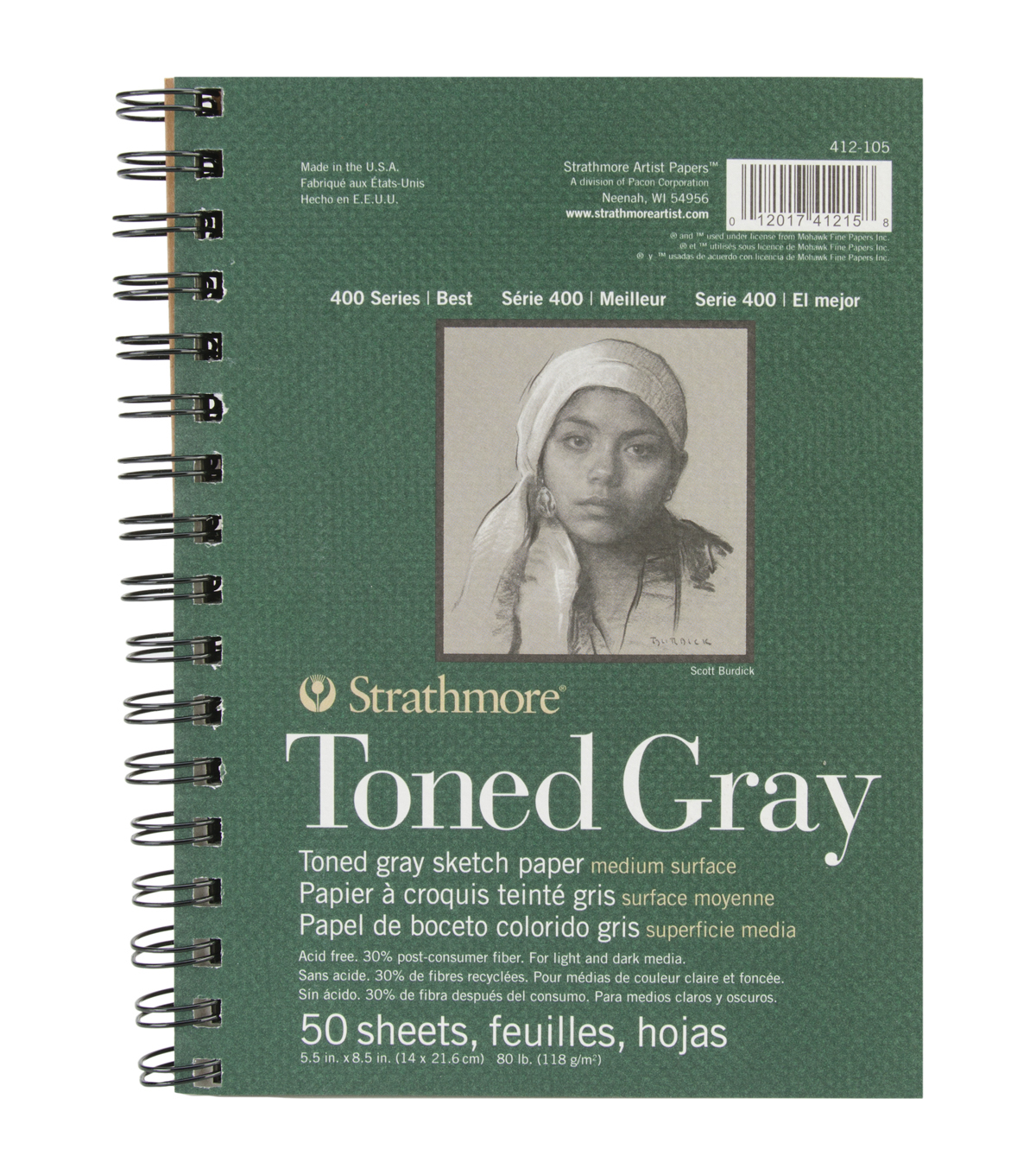 """50 Sheet 5.5X8.5/"""" Strathmore Spiral Toned Sketch Book Pad Paper Art Supply Gray"""