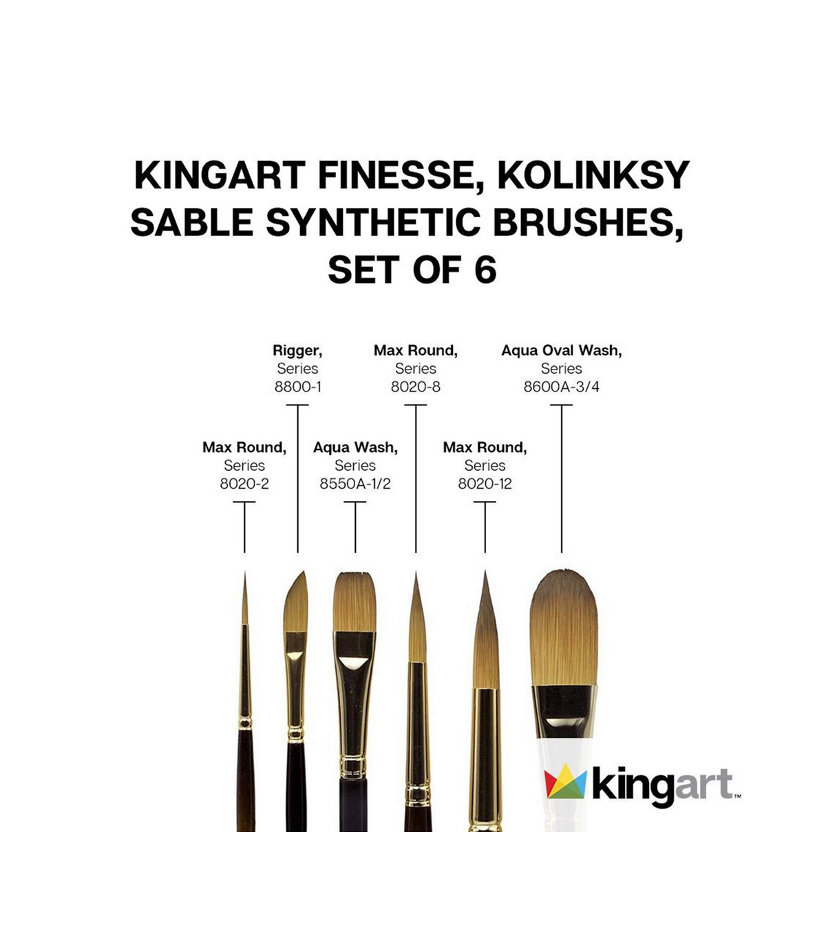 KINGART Finesse Brush Set 6/Pkg