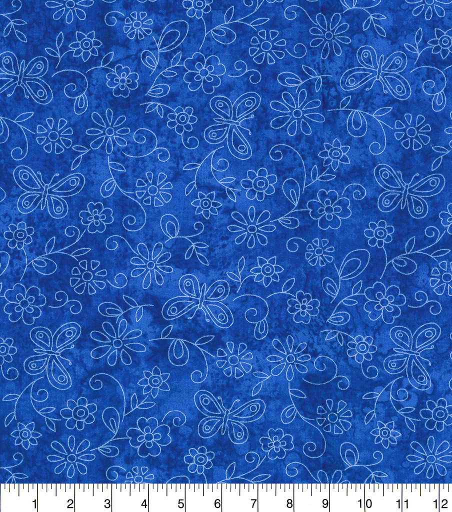 Keepsake Calico Cotton Fabric-Sundrenched Flowers & Butterflies on Royal
