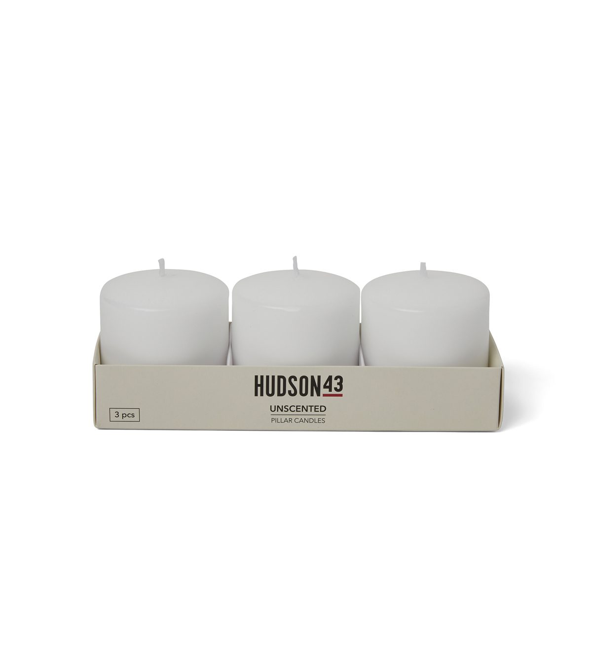 Hudson 43 Candle & Light Collection 3pk 3\u0022x3\u0022 Pillar Candles-White