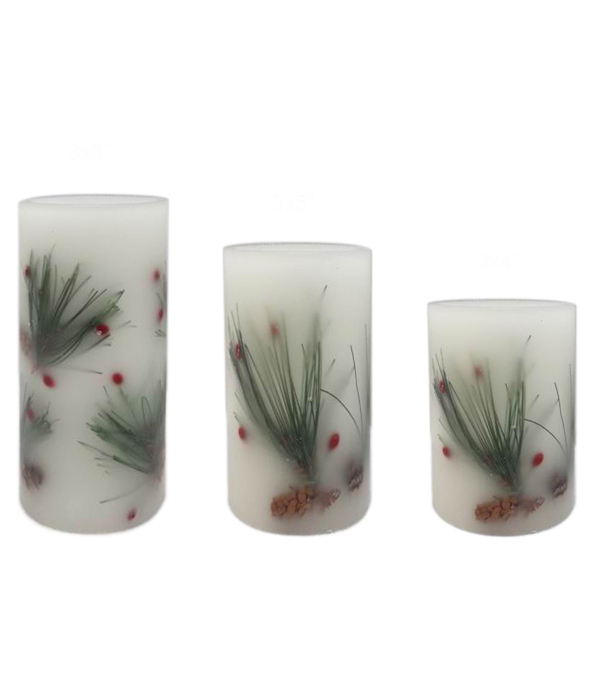 Maker\u0027s Holiday Christmas 3 pk Pine Needle Filled LED Pillar Candles