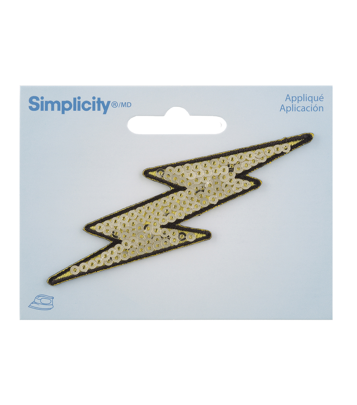 Simplicity Lightning Bolt Iron-on Applique with Sequins-Gold