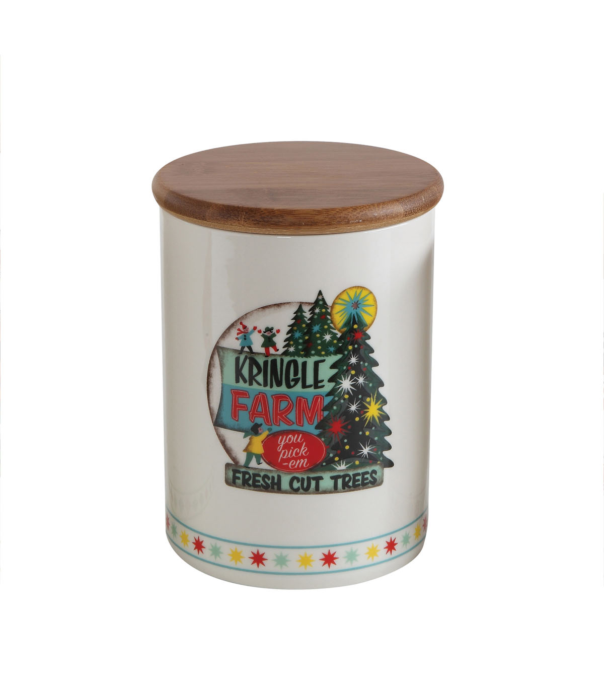Christmas Ceramic Jar with Bamboo Lid-Holiday Image
