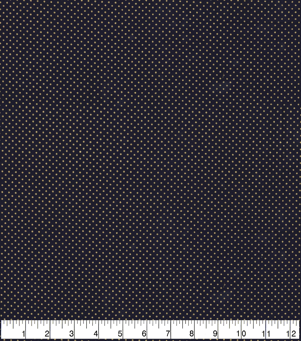 Christmas Cotton Fabric 43\u0022-Navy with Gold Pin Dots