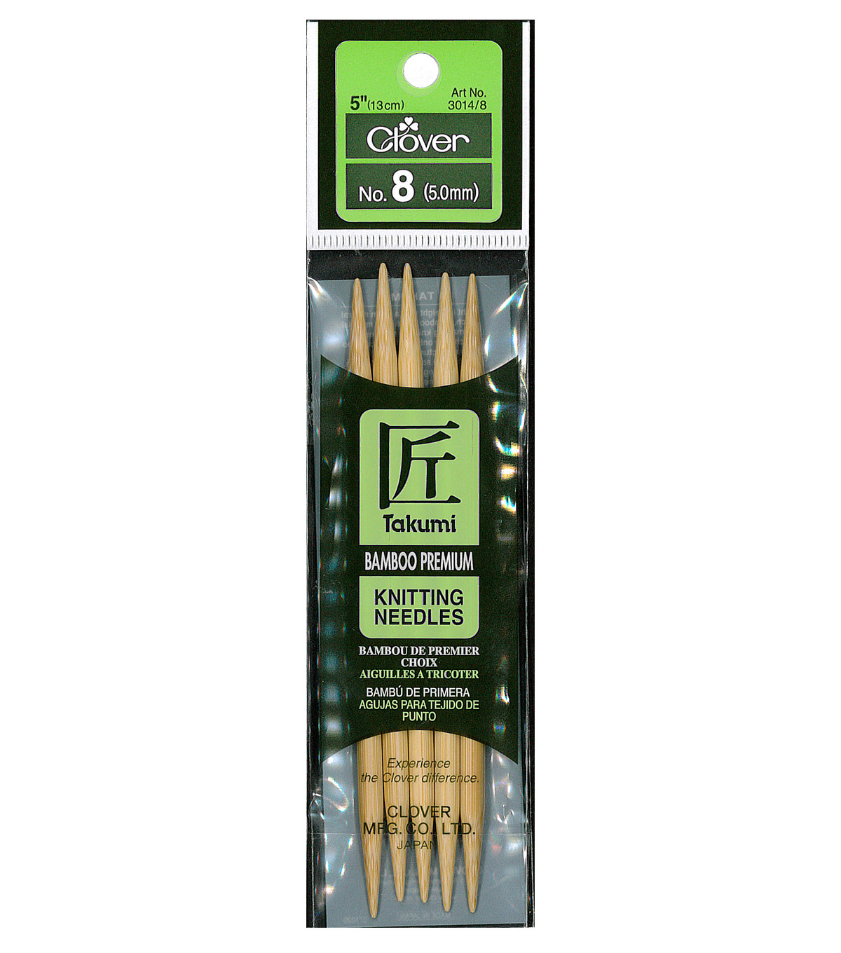 Clover Bamboo Double Point Knitting Needles 5\u0022 Set Of 5-Size 8