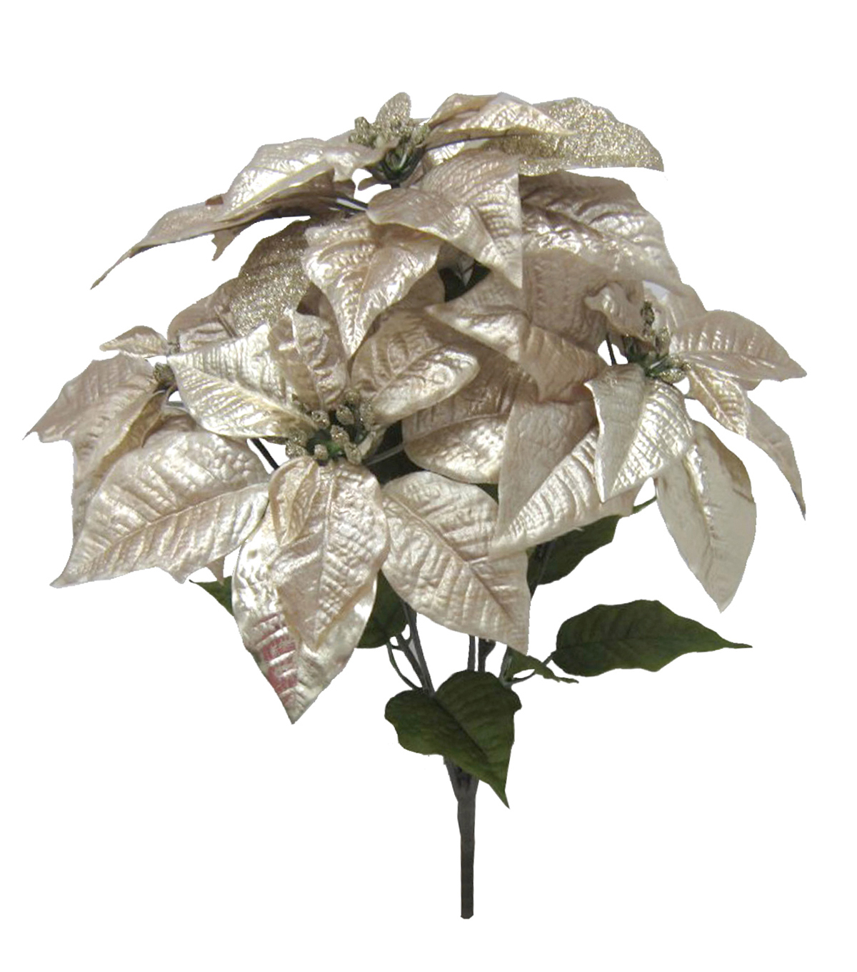 Blooming Holiday Christmas Metallic Poinsettia Bush-Champagne