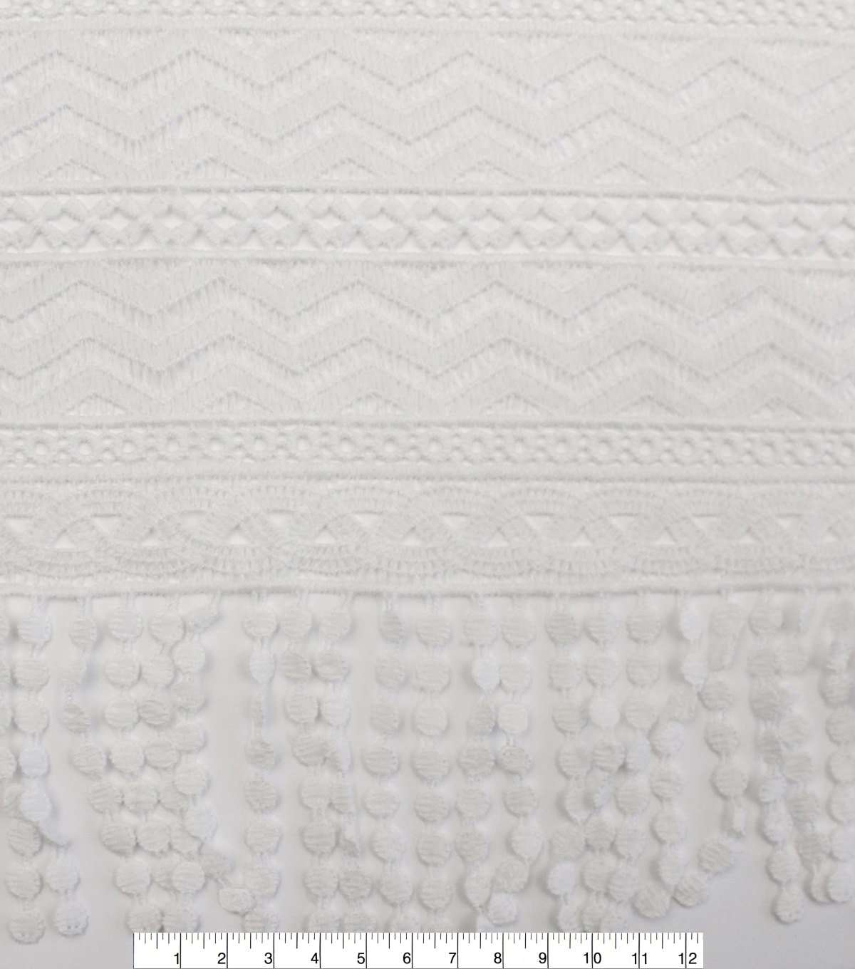 Earth Child Apparel Fabric 55\u0027\u0027-White Chemical Lace With Fringe
