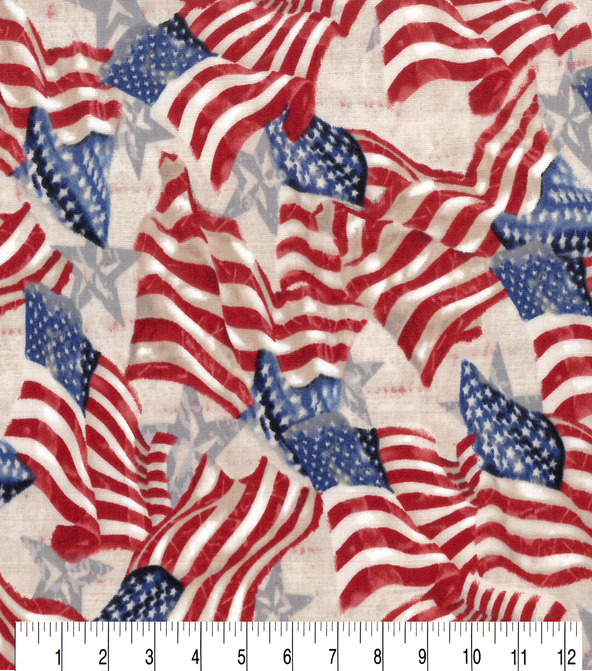 Patriotic Cotton Fabric-Flag and Stars