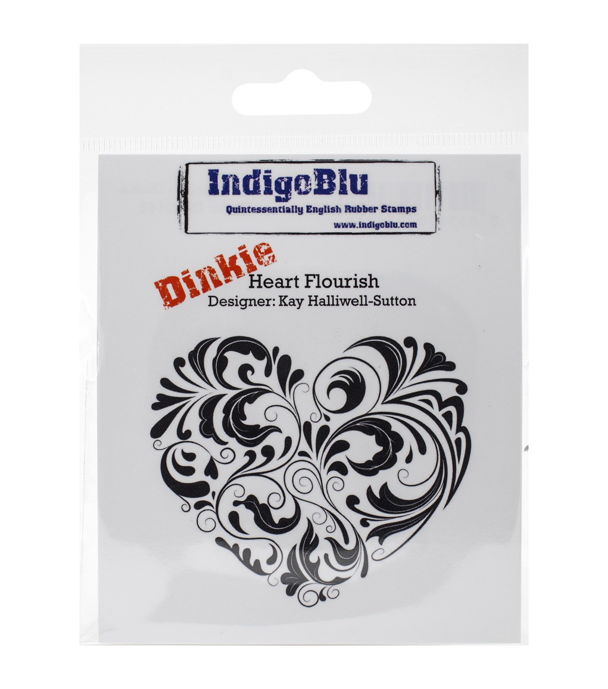Indigoblu Heart Flourish Cling Mounted Stamp