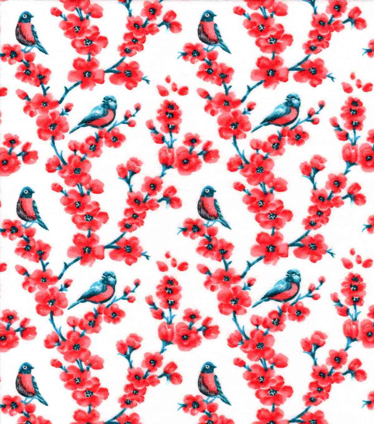 Snuggle Flannel Fabric -Birds on Peach Blossoms