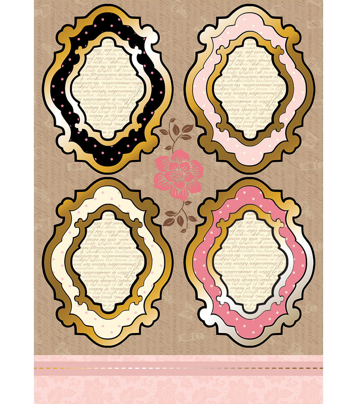 Kanban Shabby Chic Die-Cut Punch-Out-Vintage Frame Pink/Ivory
