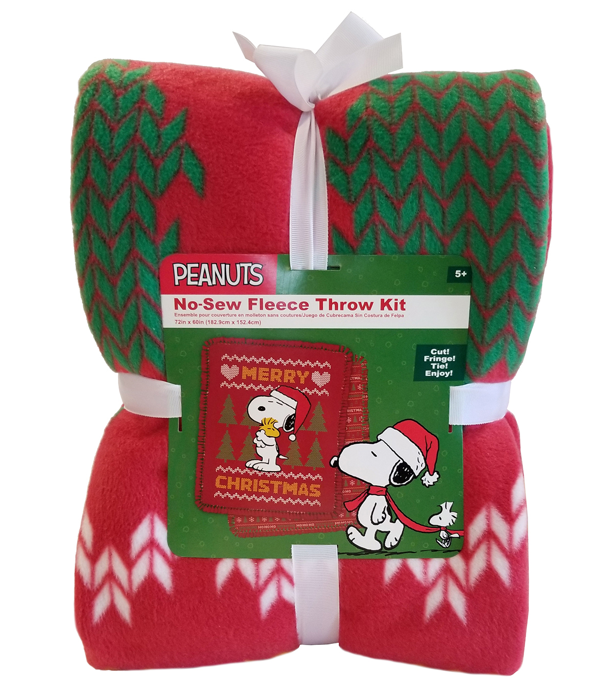 Snoopy No Sew Fleece Throw 72\u0022-Woodstock Christmas