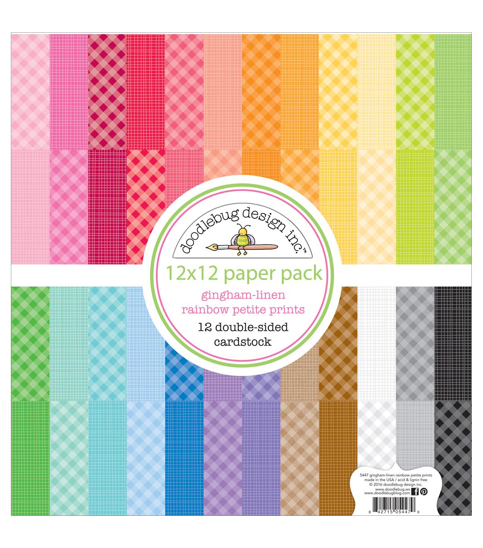 doodlebug petite prints gingham linen cardstock 12 x12 rainbow