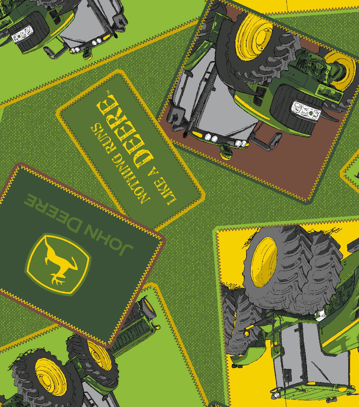 John Deere Fleece Fabric 59\u0027\u0027-Tractor Totted Patches