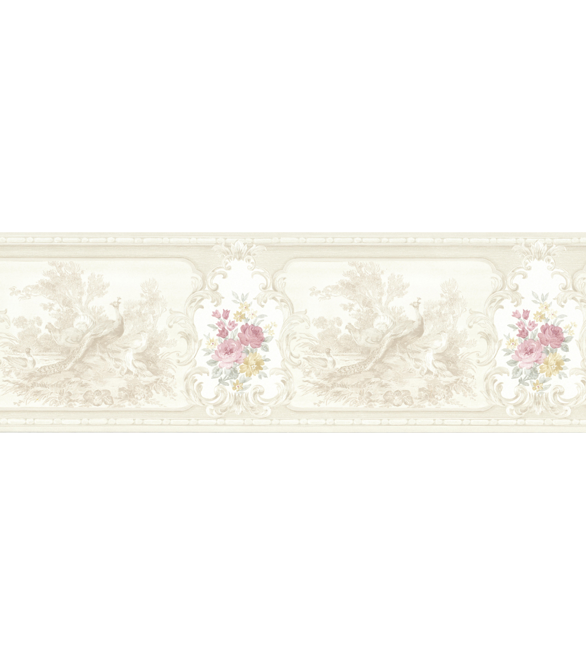 Kris Taupe Aviary Cameo Fleur Wallpaper Border Sample