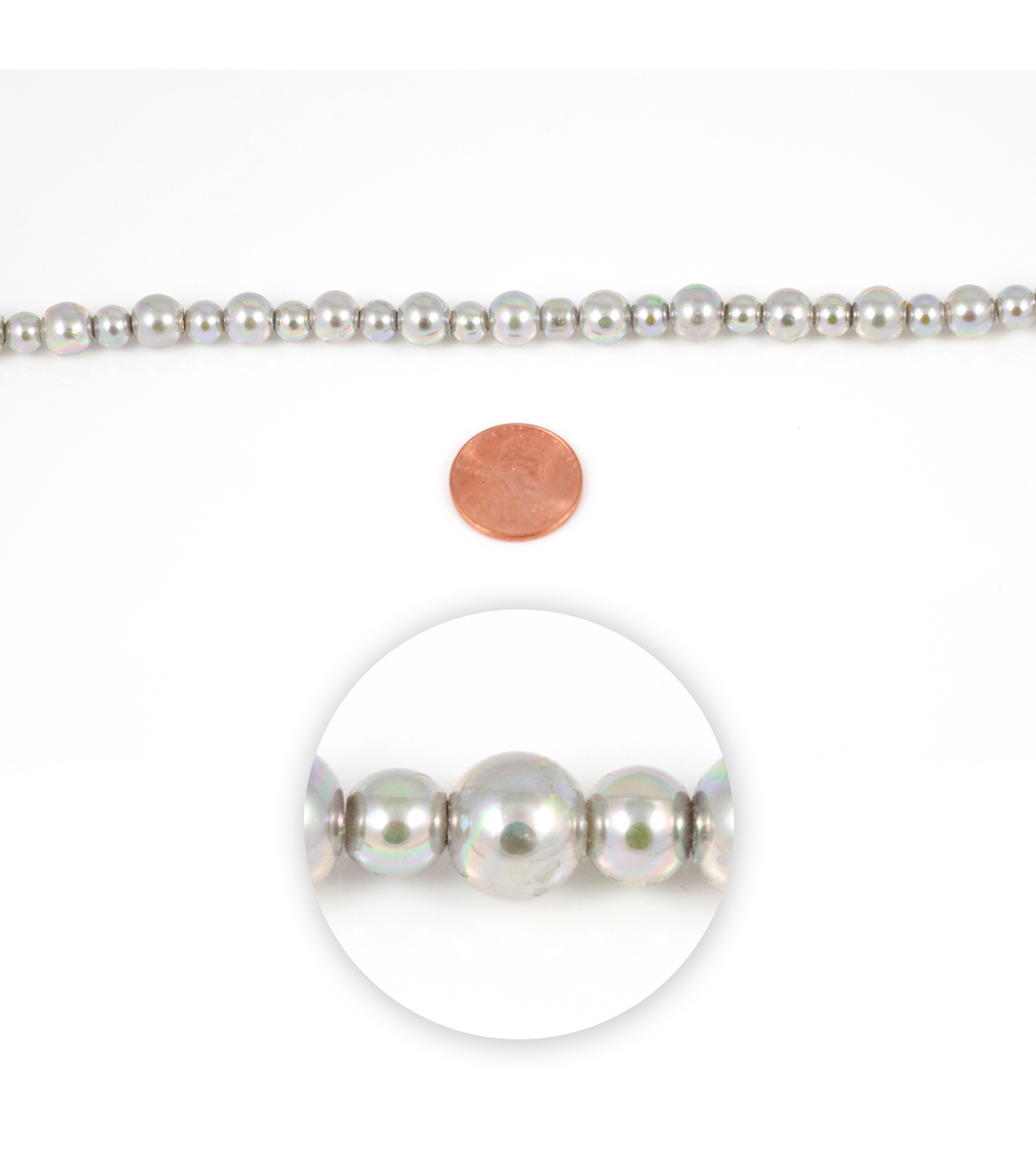 Blue Moon Strung Glass Pearl Beads,Round,Grey AB