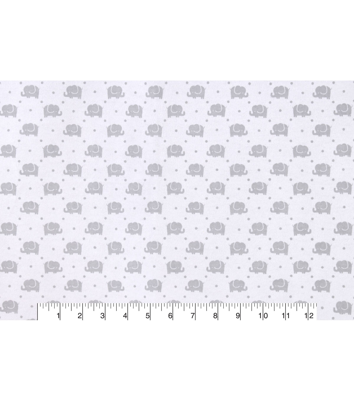 Snuggle Flannel Fabric -Gray Elephants Marching