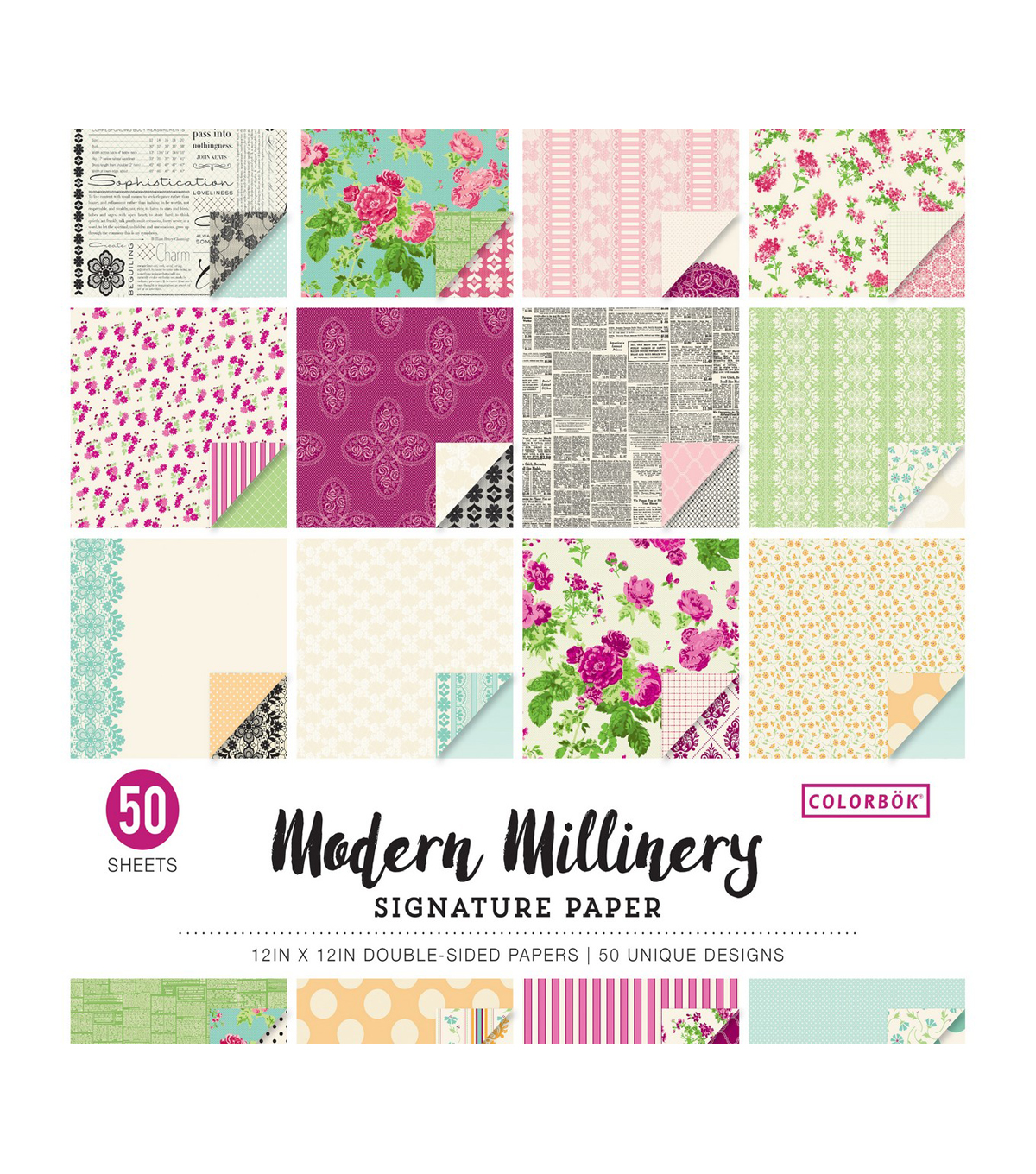 Colorbok Modern Millinery 50 pk Double-sided Signature Papers